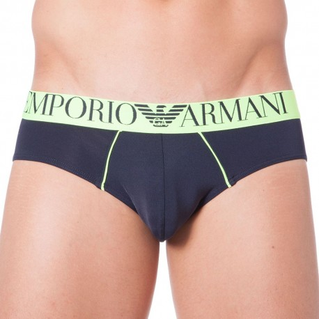 Fluo Piping Microfiber Brief - Navy