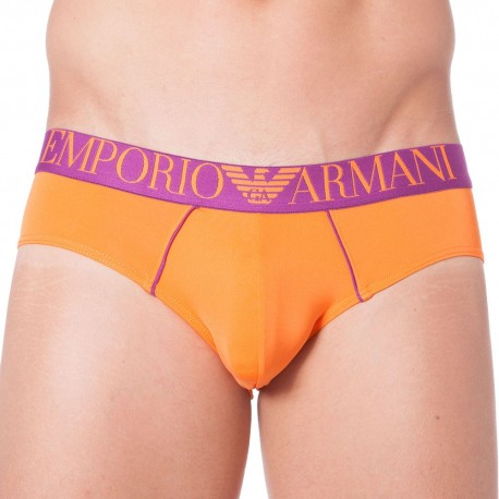 Fluo Piping Microfiber Brief - Orange
