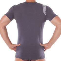 T-Shirt Shiny Logo Band Gris Emporio Armani