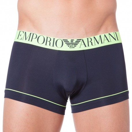 Fluo Piping Microfiber Boxer - Navy