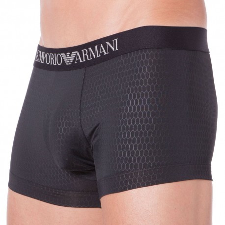 Hexagon Printed Microfiber Boxer - Black