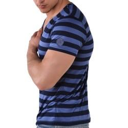 T-Shirt V-Neck Rayé Roberto Lucca