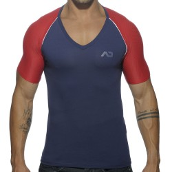 T-Shirt V-Neck Raglan Marine - Rouge Addicted