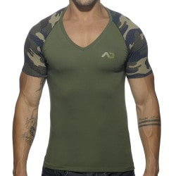 T-Shirt V-Neck Raglan Camouflage Addicted