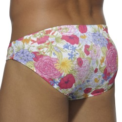 Floral Digital Swim Brief - White Addicted