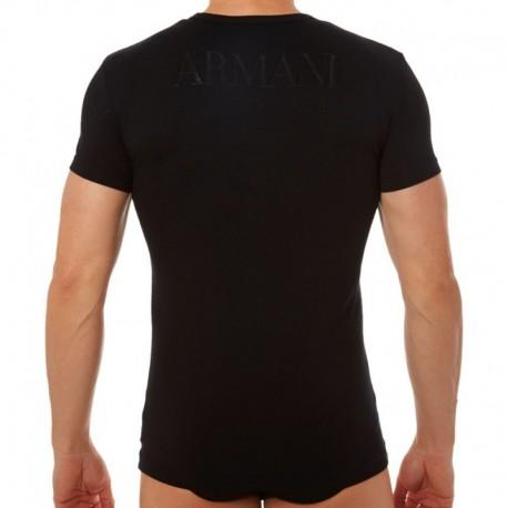Emporio Armani T-Shirt Stretch Cotton Megalogo Noir
