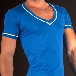 T-Shirt V Neck Berlin Stripe Bleu Barcode