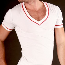 T-Shirt V Neck Berlin Stripe Blanc Barcode