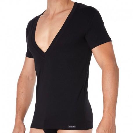 Doreanse Essential Super Low V-Neck T-Shirt - Black