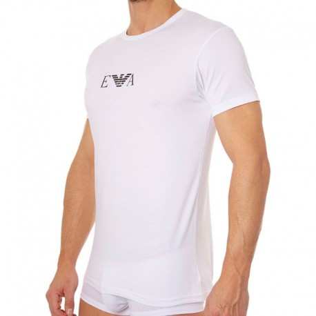 Emporio Armani Lot de 2 T-Shirts Cotton Stretch Blancs